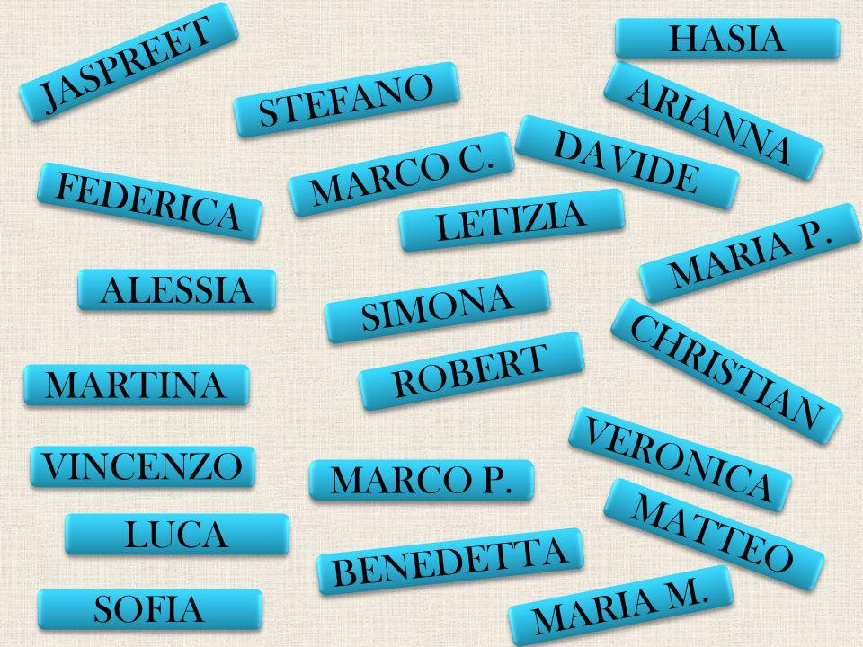 HASIA JASPREET. STEFANO. ARIANNA. DAVIDE. MARCO C. FEDERICA. LETIZIA. MARIA P. ALESSIA. SIMONA.