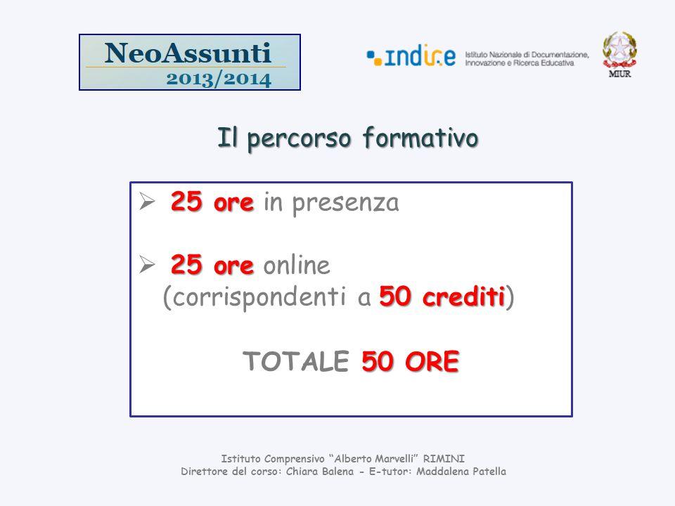 Il percorso formativo 25 ore in presenza 25 ore online (corrispondenti a 50 crediti) TOTALE 50 ORE