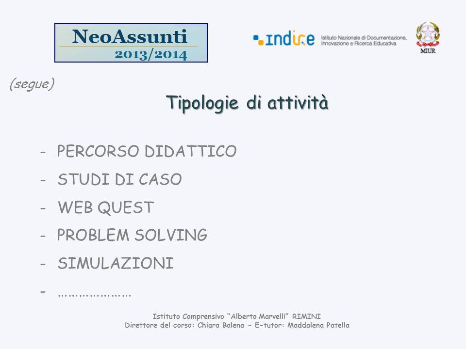 Tipologie di attività PERCORSO DIDATTICO STUDI DI CASO WEB QUEST