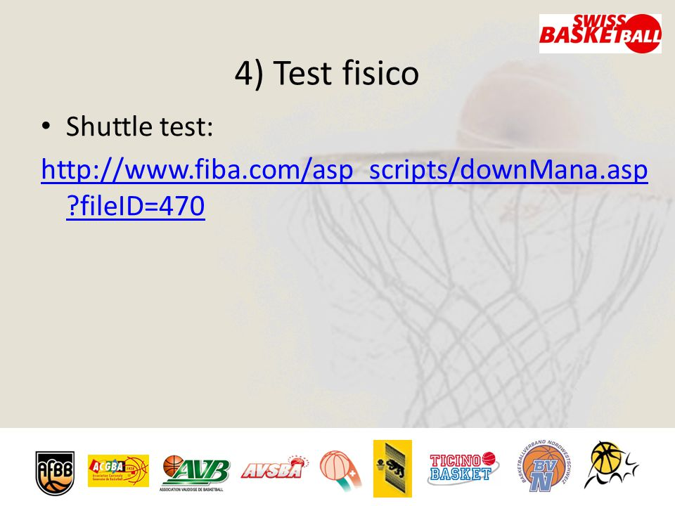 4) Test fisico Shuttle test: