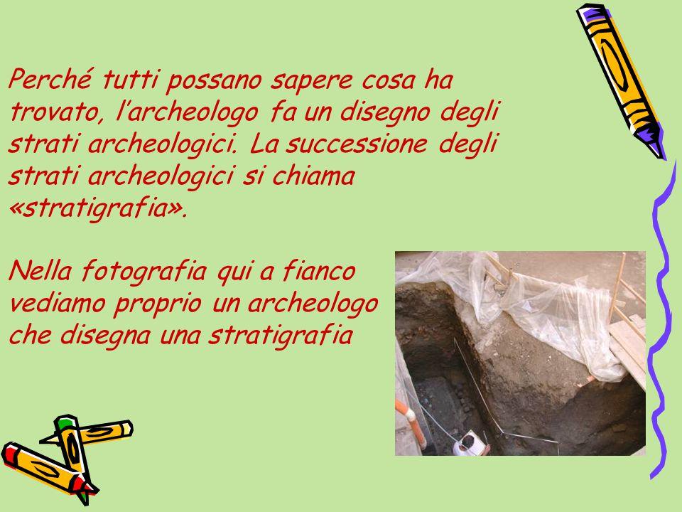 Perché tutti possano sapere cosa ha trovato, l'archeologo fa un disegno degli strati archeologici.