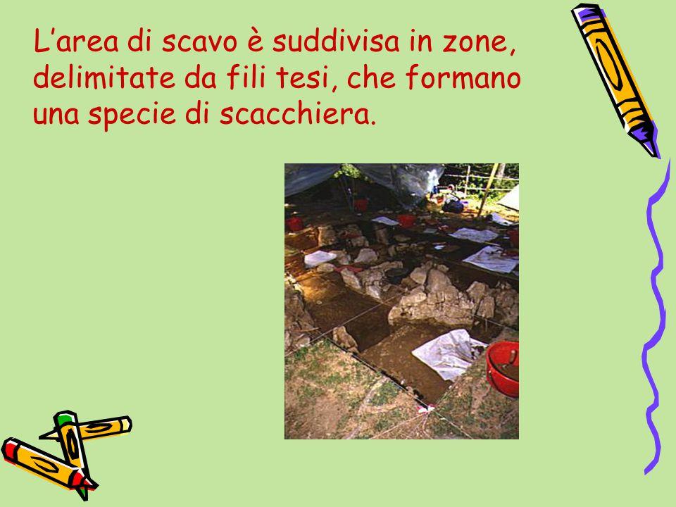L'area di scavo è suddivisa in zone, delimitate da fili tesi, che formano una specie di scacchiera.