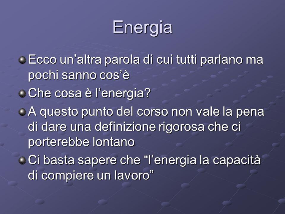 Energia Ecco un'altra parola di cui tutti parlano ma pochi sanno cos'è