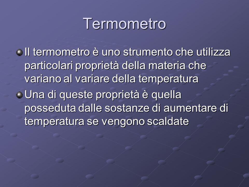 Termometro Il termometro è uno strumento che utilizza particolari proprietà della materia che variano al variare della temperatura.