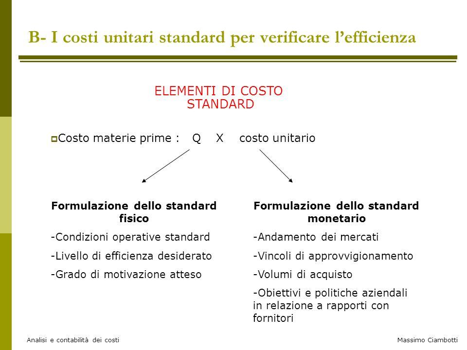 B- I costi unitari standard per verificare l'efficienza