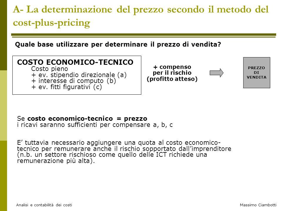 A- La determinazione del prezzo secondo il metodo del cost-plus-pricing