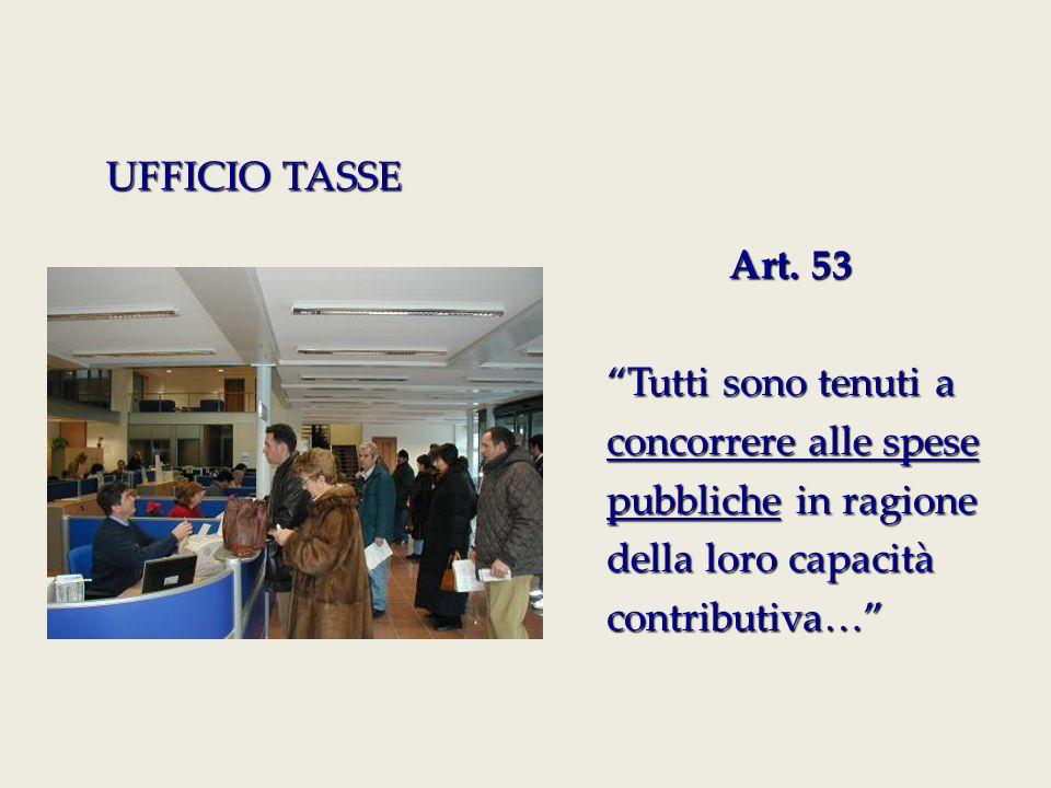 UFFICIO TASSE Art. 53. Tutti sono tenuti a. concorrere alle spese. pubbliche in ragione. della loro capacità.