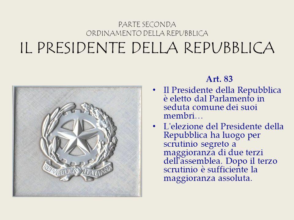 PARTE SECONDA ORDINAMENTO DELLA REPUBBLICA IL PRESIDENTE DELLA REPUBBLICA