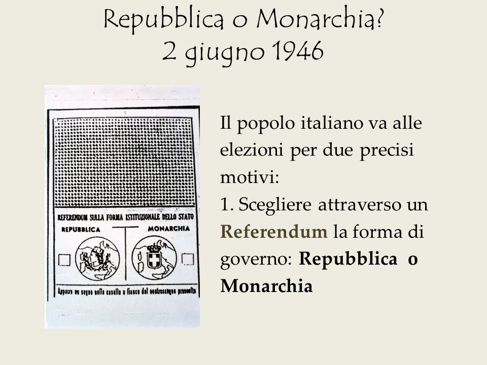 Repubblica o Monarchia 2 giugno 1946