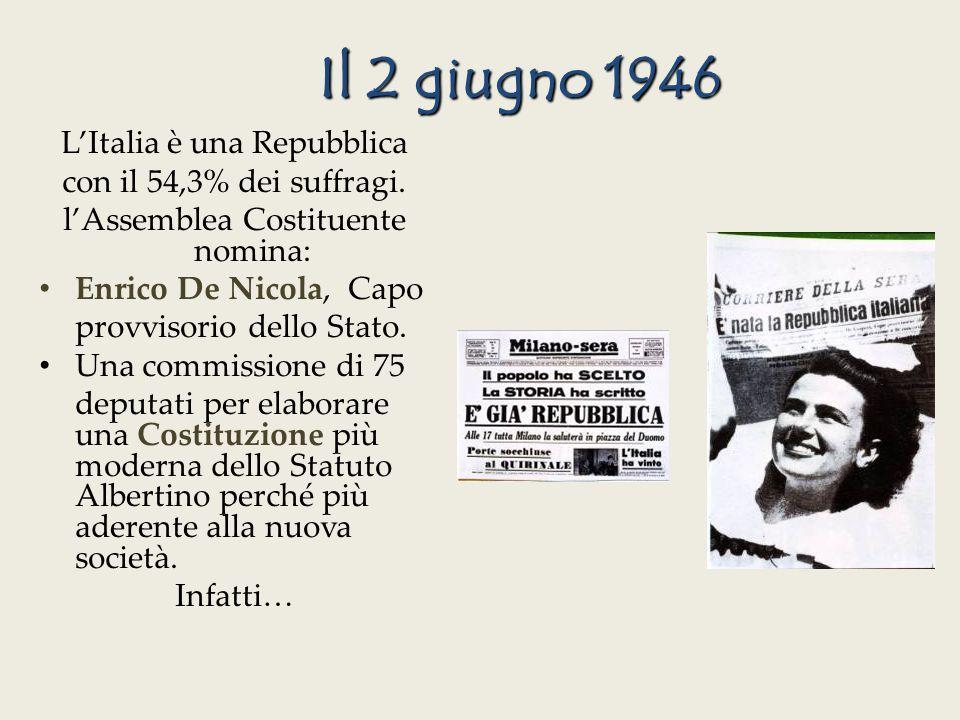 Il 2 giugno 1946 L'Italia è una Repubblica con il 54,3% dei suffragi.