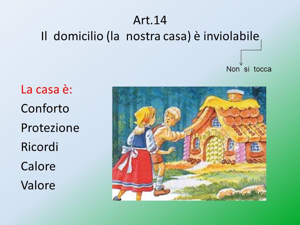 Art.14 Il domicilio (la nostra casa) è inviolabile