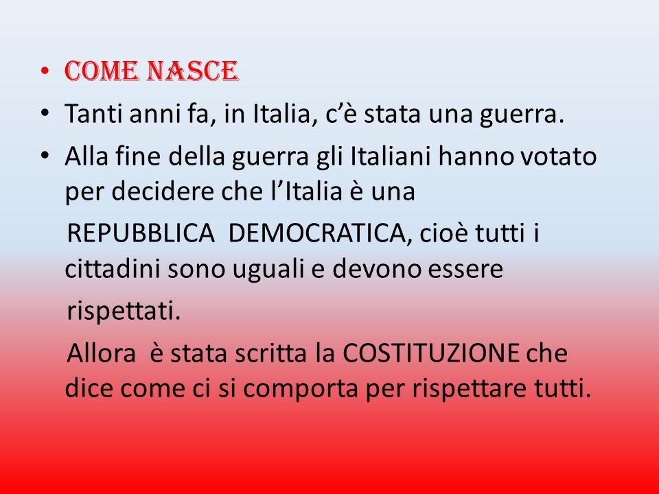 Come nasce Tanti anni fa, in Italia, c'è stata una guerra. Alla fine della guerra gli Italiani hanno votato per decidere che l'Italia è una.
