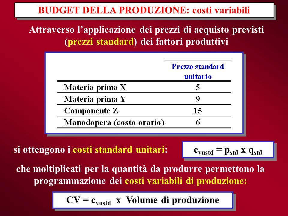 BUDGET DELLA PRODUZIONE: costi variabili