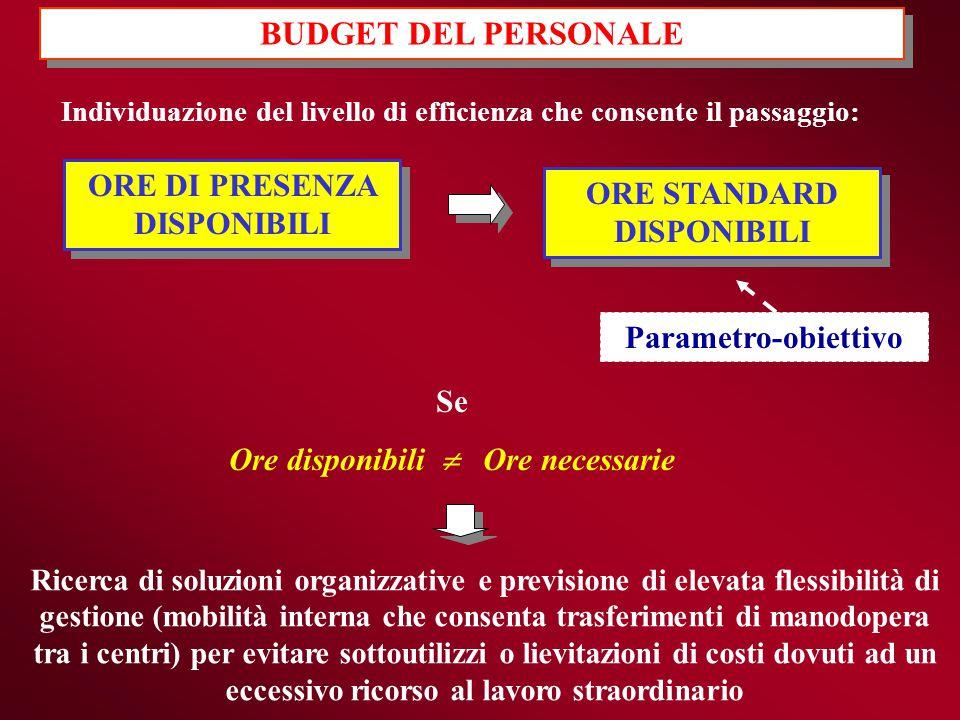 BUDGET DEL PERSONALE ORE DI PRESENZA DISPONIBILI