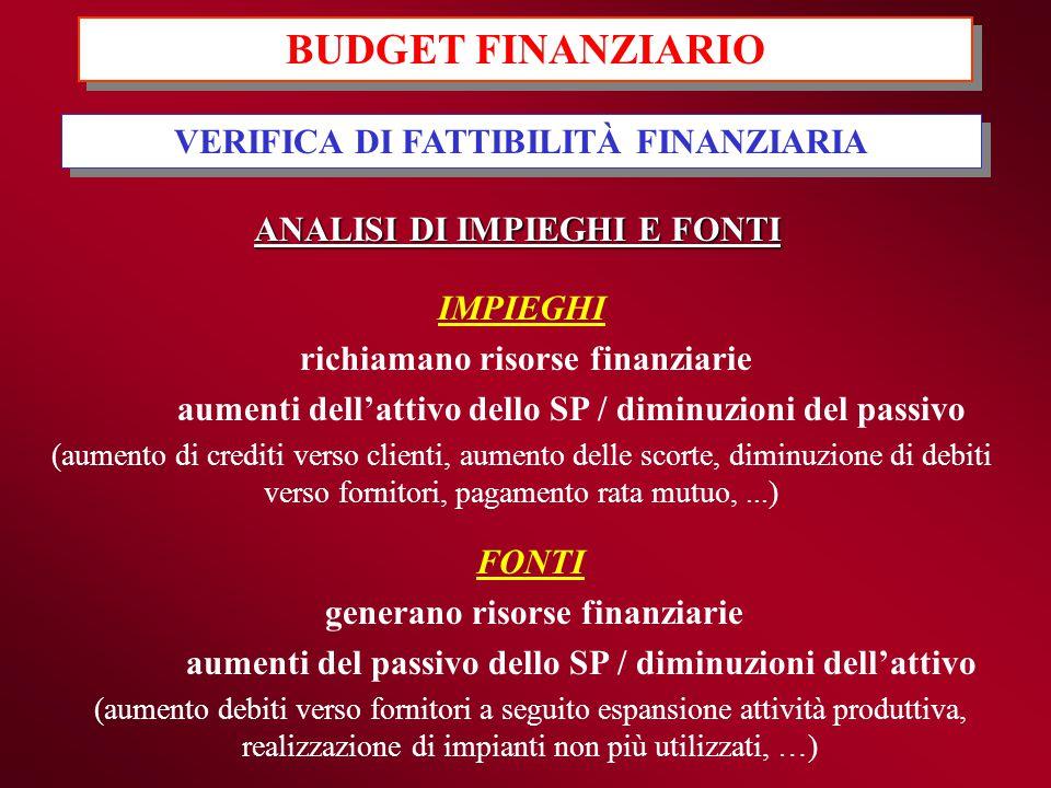 BUDGET FINANZIARIO VERIFICA DI FATTIBILITÀ FINANZIARIA