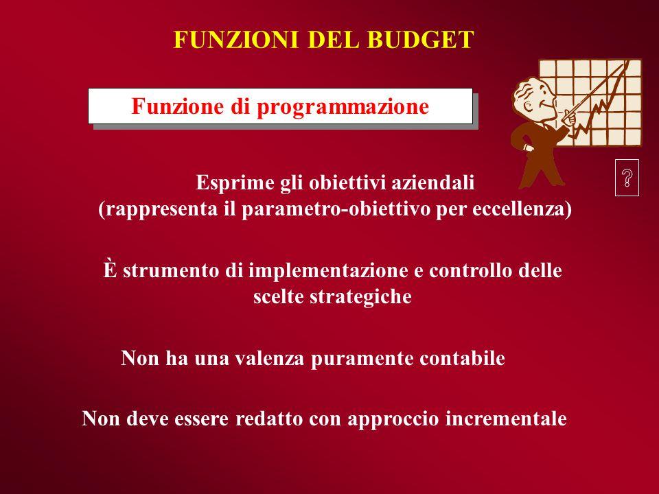FUNZIONI DEL BUDGET Funzione di programmazione