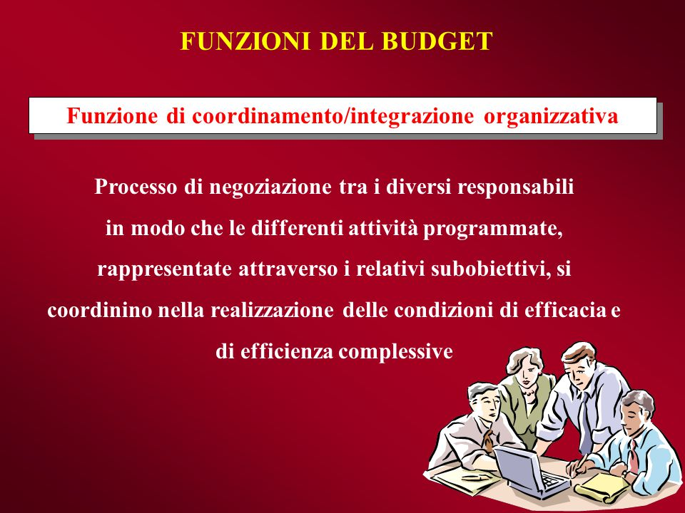 FUNZIONI DEL BUDGET Funzione di coordinamento/integrazione organizzativa. Processo di negoziazione tra i diversi responsabili.