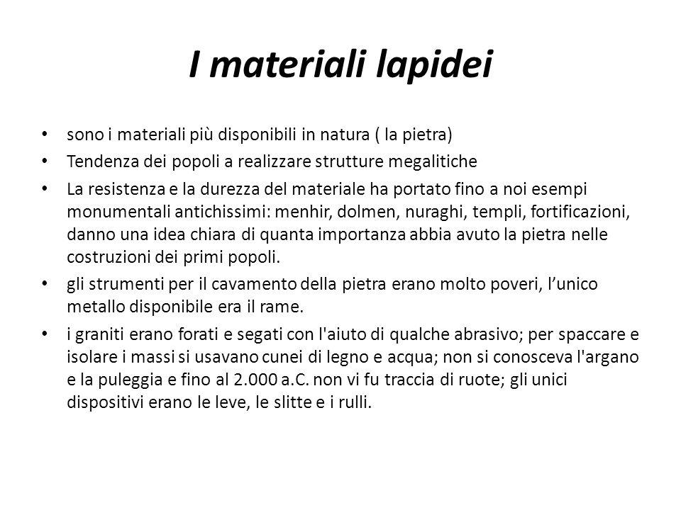 I materiali lapidei sono i materiali più disponibili in natura ( la pietra) Tendenza dei popoli a realizzare strutture megalitiche.