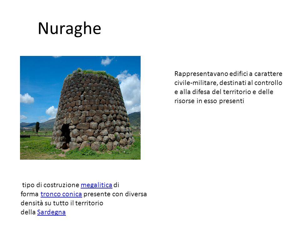 Nuraghe Rappresentavano edifici a carattere civile-militare, destinati al controllo e alla difesa del territorio e delle risorse in esso presenti.
