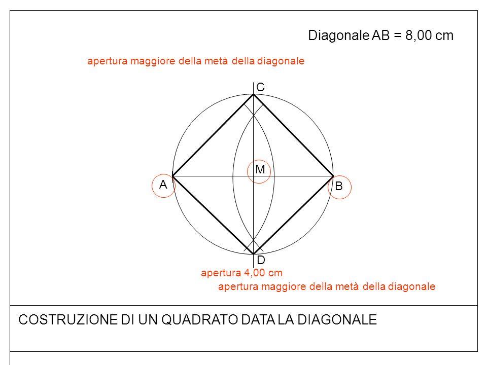 COSTRUZIONE DI UN QUADRATO DATA LA DIAGONALE Diagonale AB = 8,00 cm