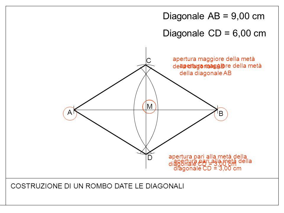 Diagonale AB = 9,00 cm Diagonale CD = 6,00 cm C M A B D
