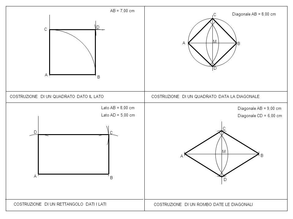 AB = 7,00 cm C. Diagonale AB = 8,00 cm. D. C. A. M. B. D. A. B. COSTRUZIONE DI UN QUADRATO DATO IL LATO.