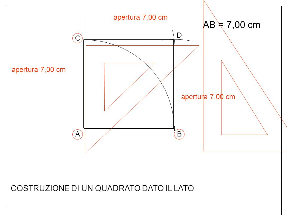 AB = 7,00 cm COSTRUZIONE DI UN QUADRATO DATO IL LATO apertura 7,00 cm