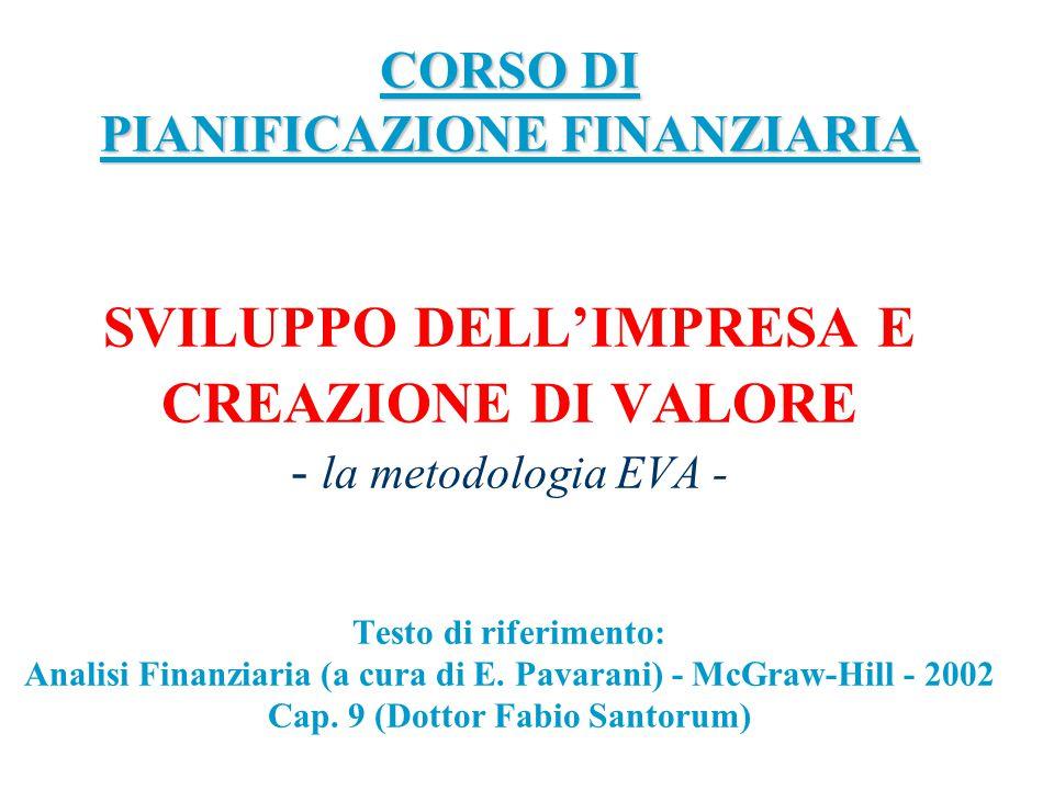 CORSO DI PIANIFICAZIONE FINANZIARIA SVILUPPO DELL'IMPRESA E CREAZIONE DI VALORE - la metodologia EVA - Testo di riferimento: Analisi Finanziaria (a cura di E.