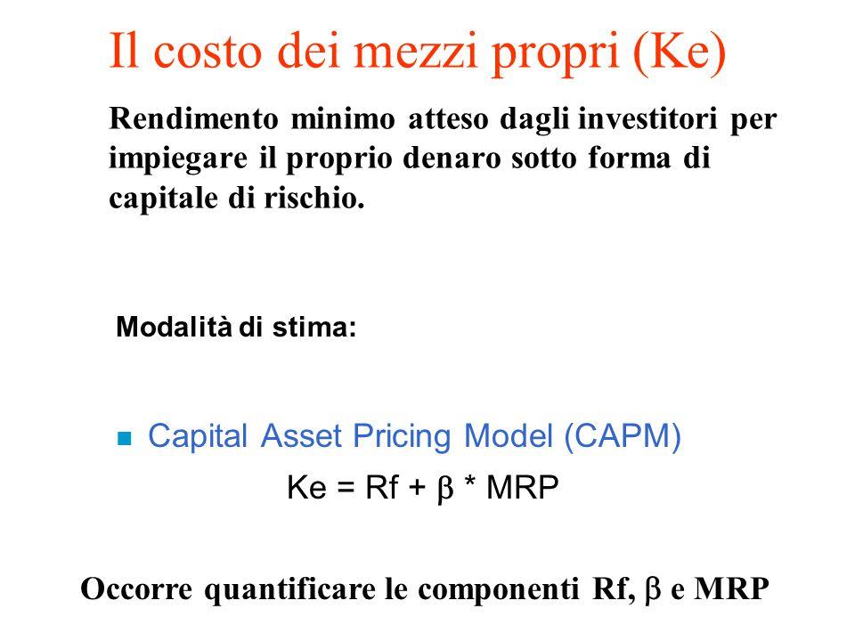 Il costo dei mezzi propri (Ke) Rendimento minimo atteso dagli investitori per impiegare il proprio denaro sotto forma di capitale di rischio.