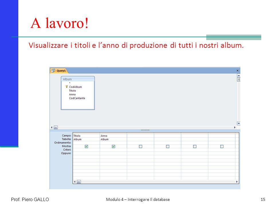 A lavoro! Visualizzare i titoli e l'anno di produzione di tutti i nostri album. Prof. Piero GALLO.