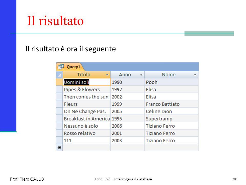 Il risultato Il risultato è ora il seguente Prof. Piero GALLO
