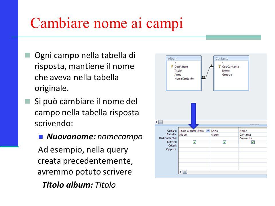 Cambiare nome ai campi Ogni campo nella tabella di risposta, mantiene il nome che aveva nella tabella originale.