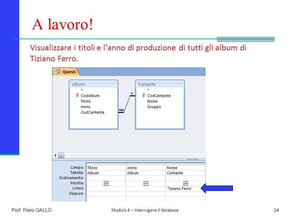 A lavoro! Visualizzare i titoli e l'anno di produzione di tutti gli album di Tiziano Ferro. Prof. Piero GALLO.