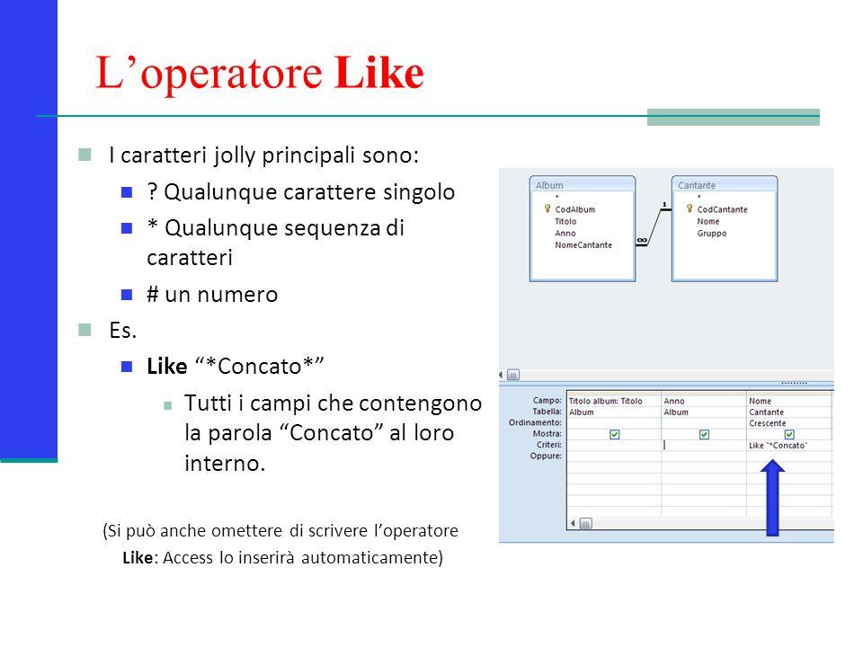 L'operatore Like I caratteri jolly principali sono: