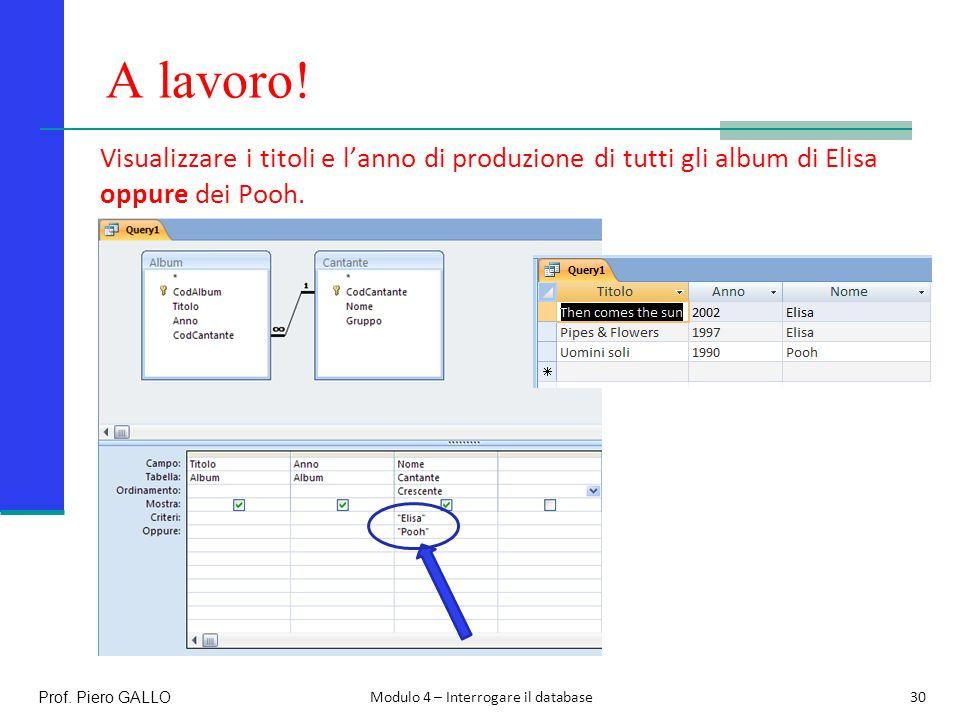 A lavoro! Visualizzare i titoli e l'anno di produzione di tutti gli album di Elisa oppure dei Pooh.