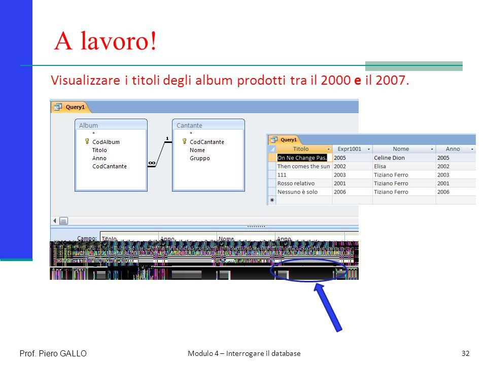 A lavoro. Visualizzare i titoli degli album prodotti tra il 2000 e il 2007.