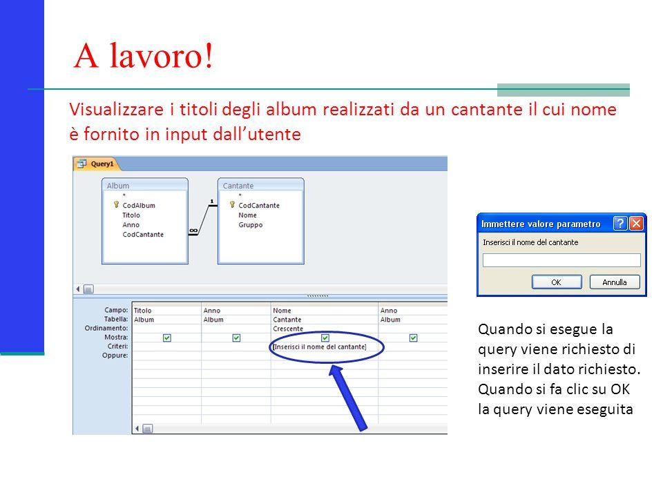 A lavoro! Visualizzare i titoli degli album realizzati da un cantante il cui nome è fornito in input dall'utente.