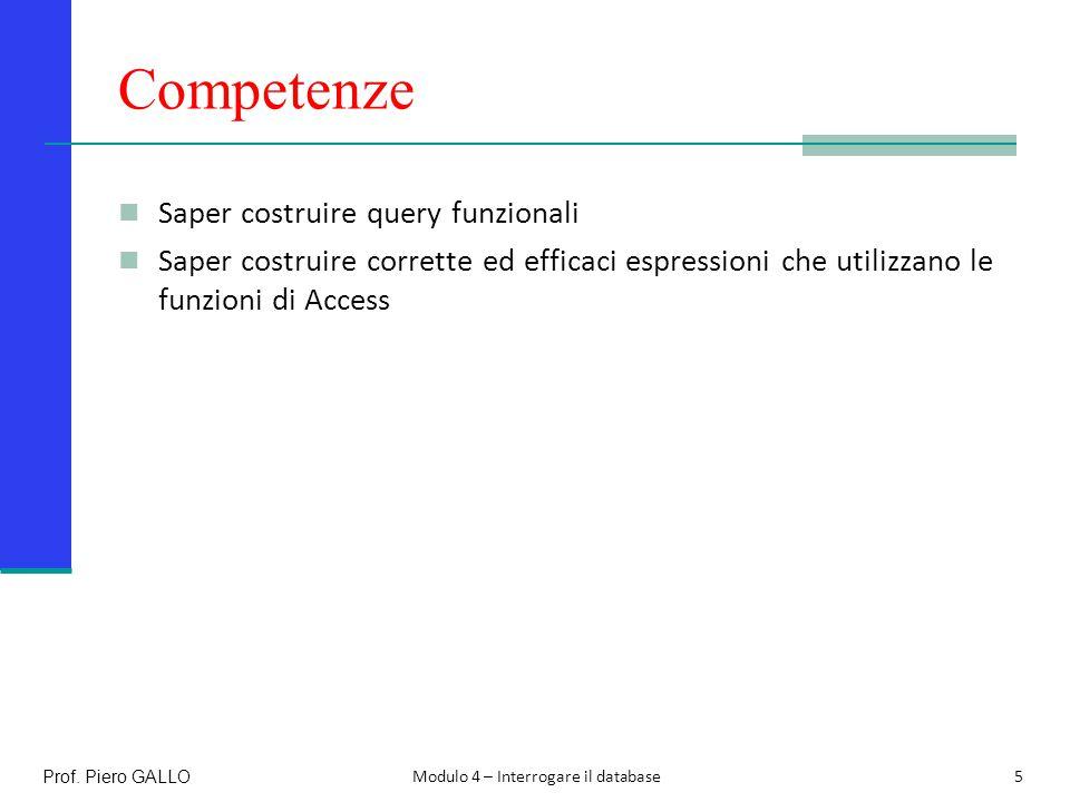 Competenze Saper costruire query funzionali