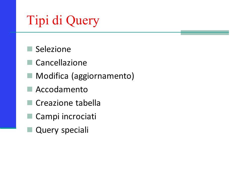 Tipi di Query Selezione Cancellazione Modifica (aggiornamento)
