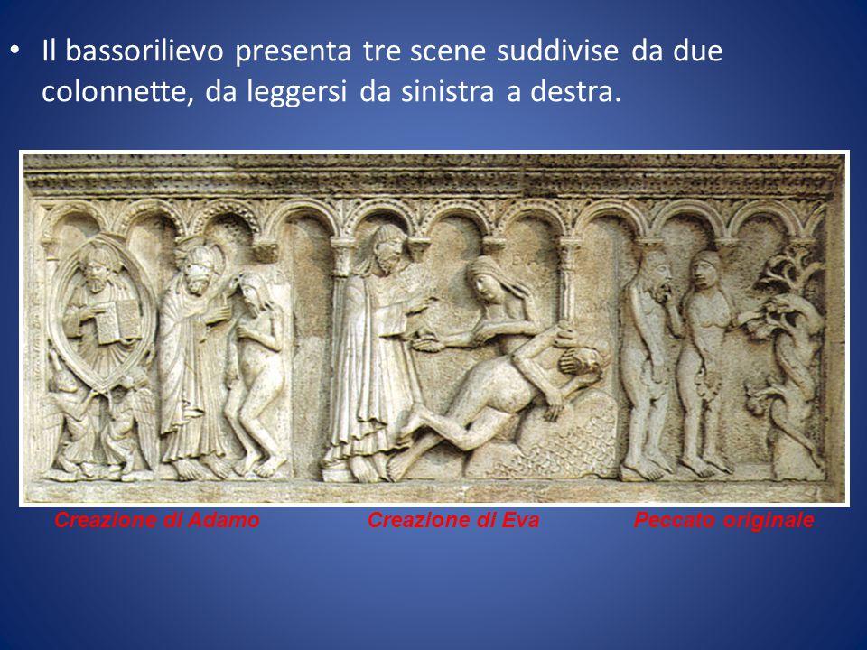 Il bassorilievo presenta tre scene suddivise da due colonnette, da leggersi da sinistra a destra.