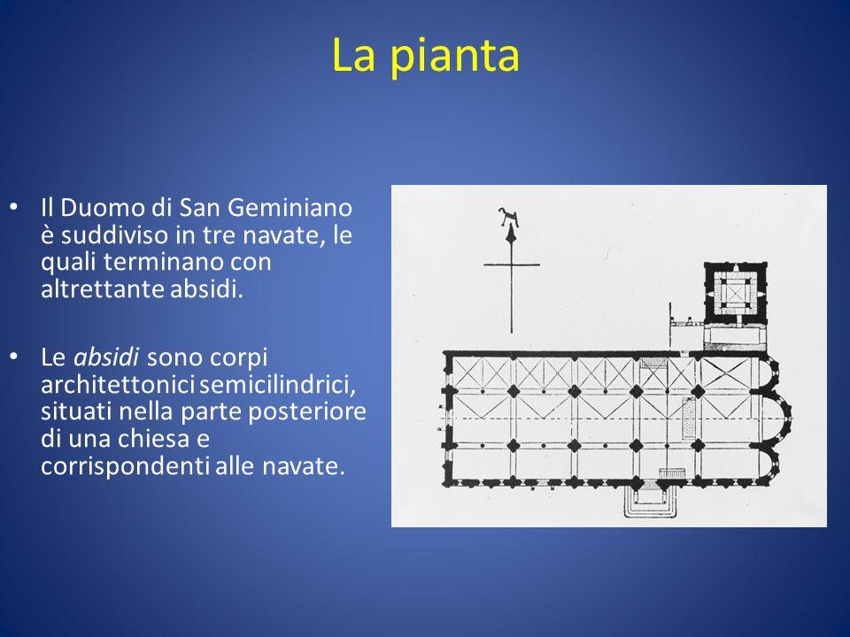 La pianta Il Duomo di San Geminiano è suddiviso in tre navate, le quali terminano con altrettante absidi.