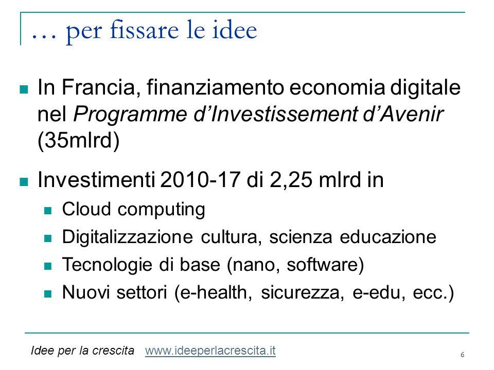 … per fissare le idee In Francia, finanziamento economia digitale nel Programme d'Investissement d'Avenir (35mlrd)