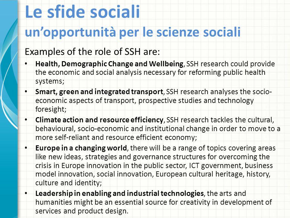 Le sfide sociali un'opportunità per le scienze sociali