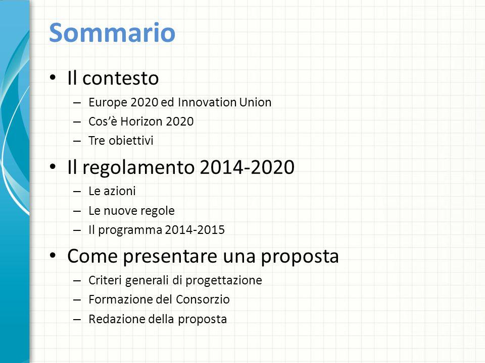Sommario Il contesto Il regolamento 2014-2020
