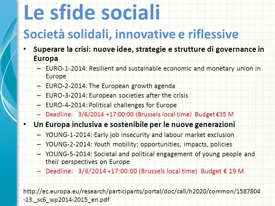 Le sfide sociali Società solidali, innovative e riflessive