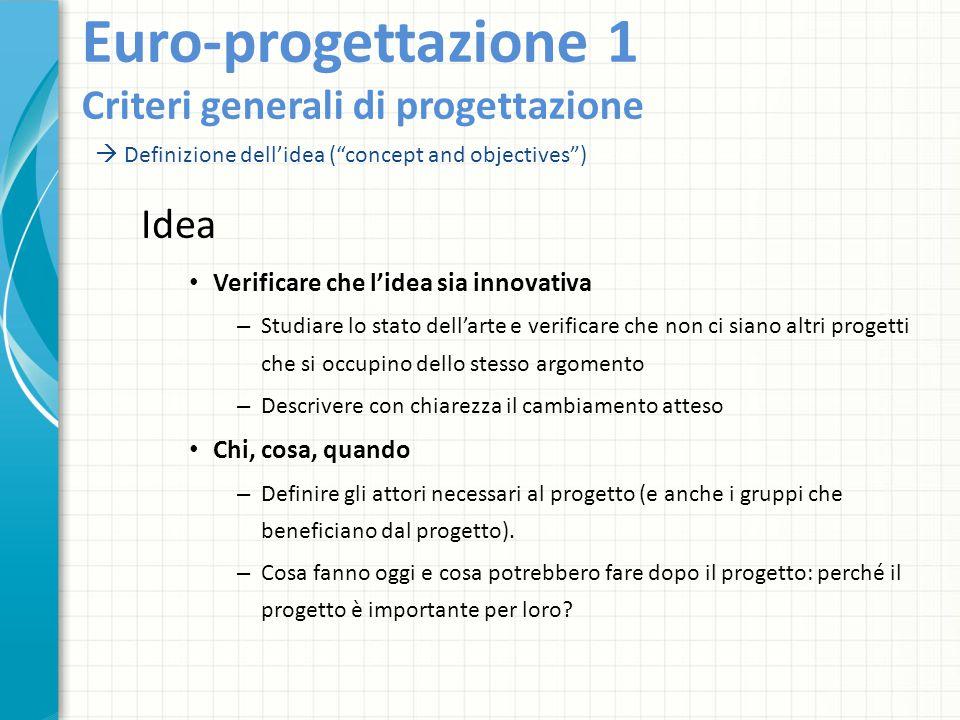 Euro-progettazione 1 Criteri generali di progettazione