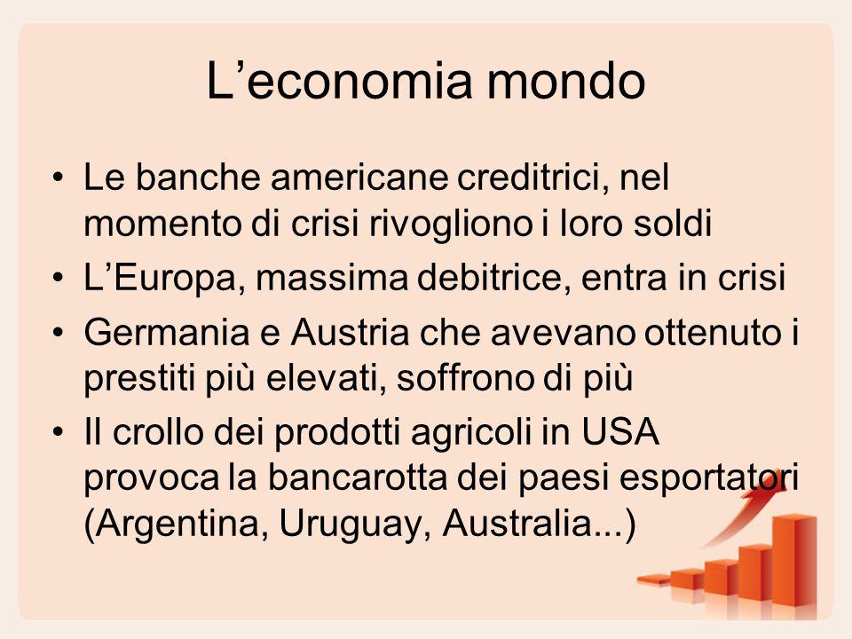 L'economia mondo Le banche americane creditrici, nel momento di crisi rivogliono i loro soldi. L'Europa, massima debitrice, entra in crisi.