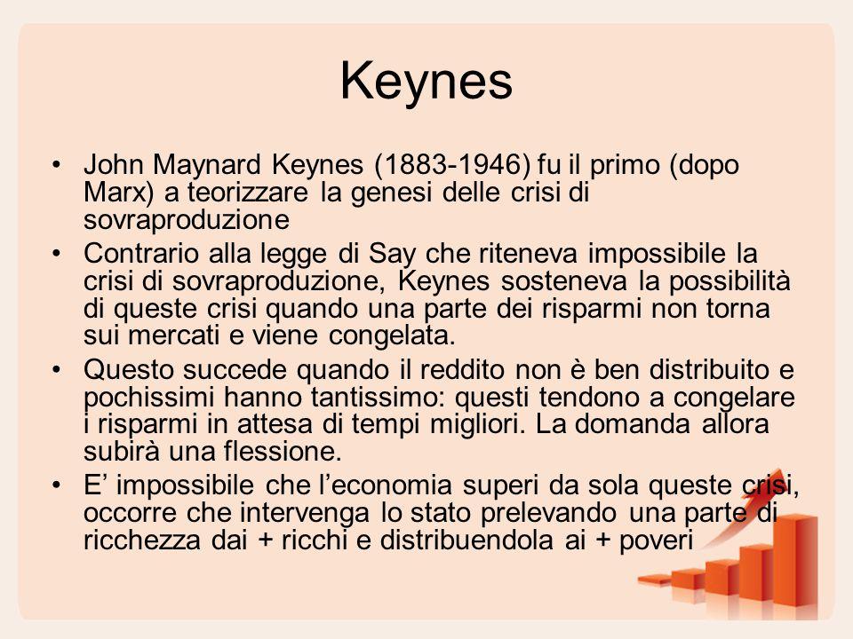 Keynes John Maynard Keynes (1883-1946) fu il primo (dopo Marx) a teorizzare la genesi delle crisi di sovraproduzione.