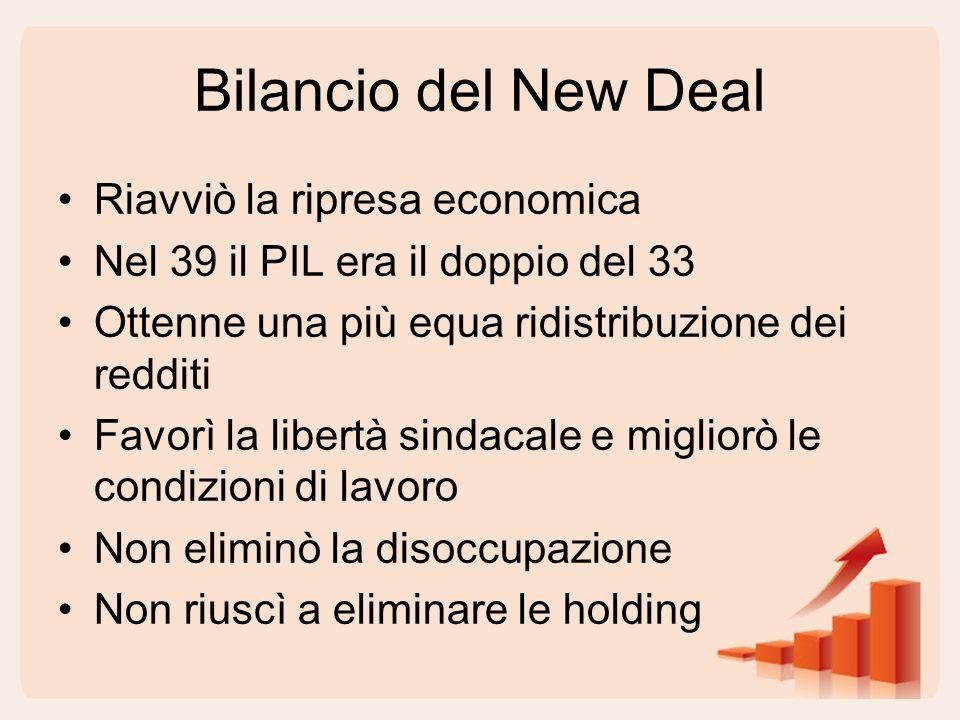 Bilancio del New Deal Riavviò la ripresa economica