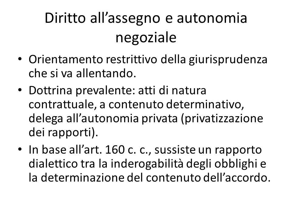 Diritto all'assegno e autonomia negoziale